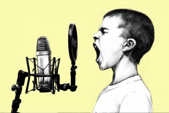boy singing into microphone illustration